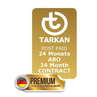 24 month SUBSCRIPTION - TARKAN Premium + 70 country UNLIMITED + 110 Länder 10 GB