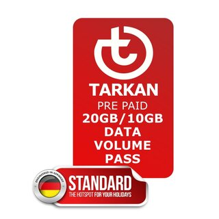 Data volume PASS for TARKAN Standard with 20 GB in all A PRIME countries and 10 GB in all other countries