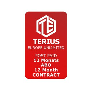 TERIUS STANDARD SUBSCRIPTION - 12 months contract period - 750GB a month - European Union, including Norway